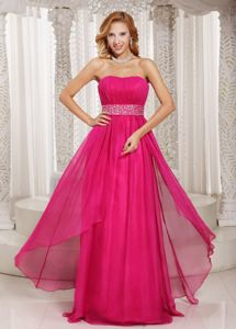 Layered Hot Pink Strapless Graduation Dress with Beading in Monikie