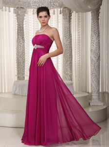 Strapless Floor-Length Beaded Dress for Graduation in Fuchsia in Montrose