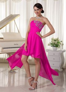 Strapless Hot Pink Asymmetrical-Length School Summer Party Dress in Rosehall