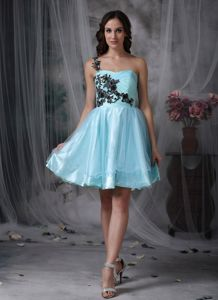 Aqua Blue Appliques One Shoulder Mini-length Graduation Dress
