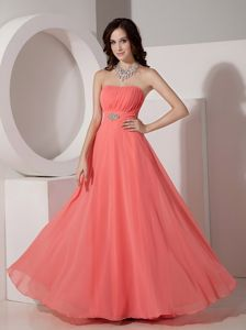 Watermelon Red Empire Strapless Graduation Dresses for Grade 8