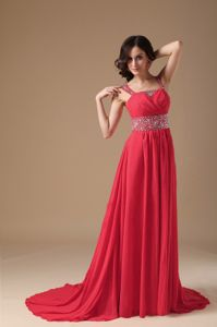 A-line Straps Beading Court Train Graduation Ceremony Dresses