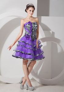 Zebra Purple A-line Strapless Layered Short Grad Dresses for Girls