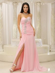 High Slit Evening Dress for Graduation Beaded Sweetheart in Pink