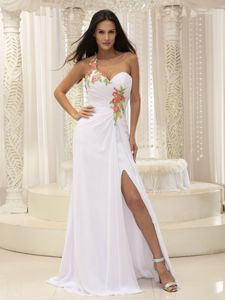 White Single Shoulder High Slit Graduation Ceremony Dresses