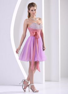 Beaded Sweetheart Graduation Dresses for Girls with Sash Knee-length