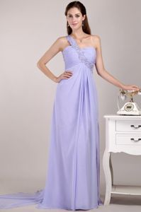 Empire Lilac Watteau Train Prom Dress For Graduation One Shoulder
