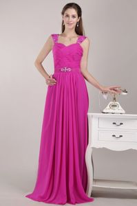 Beading Straps Floor-length Fuchsia Cheap Graduation Dresses