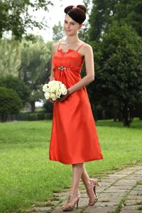 Rust Red 5th Grade Graduation Dresses A-line Straps Tea-length