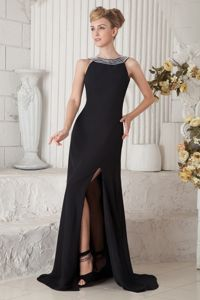 Bateau Beading Black Evening Dress For Graduation with Side Slit