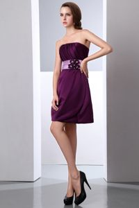 Column Dark Purple Strapless Graduation Ceremony Dress Mini-length