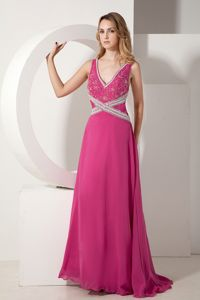 V-neck Floor-length Beading Senior Graduation Dress in Fuchsia