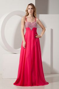 Coral Red Empire Spaghetti Straps Brush Train Grad Dress Beaded