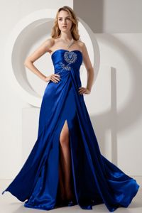 Strapless Beading Royal Blue Evening Dress for Grad with Slit
