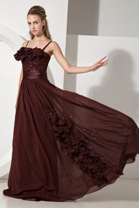 Brown Graduation Ceremony Dresses Beading Strapless Brush Train