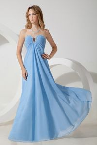 Empire Sweetheart Beading Blue Floor-length Graduation Dresses