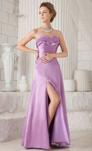 Lavender Side Slit Graduation Dresses Sweetheart Floor-length