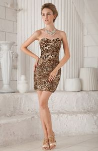 Sexy Sheath Sweetheart Mini-length Leopard Graduation Dress