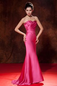 Ruffled Hot Pink Junior Mermaid Strapless Grad Dress Brush Train