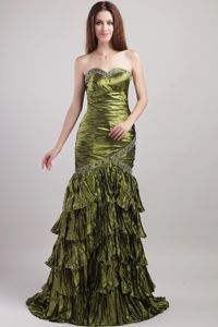 Layered Olive Green Beading Grad Dress Sweetheart Brush Train