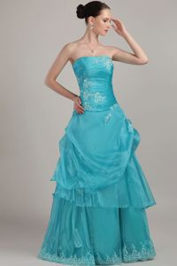 Strapless Appliques and Beading Turquoise College Graduation Dresses