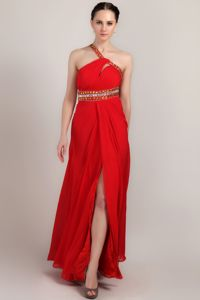 Empire One Shoulder Beading Ankle-length Slit Graduation Dress
