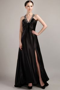 Black Beading V-neck Sweep Train Graduation Dress with High Slit