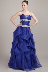 Sweetheart Beading Pick-ups Royal Blue Senior Graduation Dress