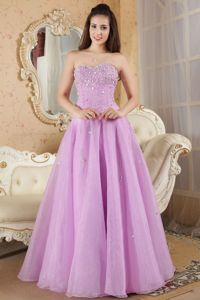 A-line Sweetheart Lilac Prom Dress For Graduation Beading Floor-length