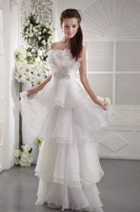 White Strapless Beading Belt Graduation Dress Layered Ruffles