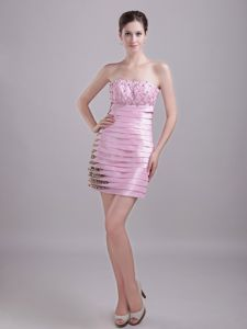 Column Strapless Pink Mini-length Leopard Senior Graduation Dress