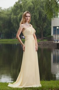 Empire One Shoulder Graduation Dress Brush Train in Light Yellow