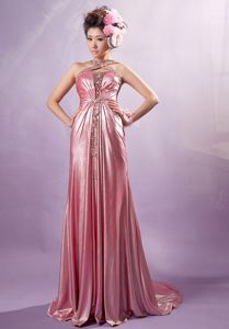 Pink Cross Straps Beading Senior Graduation Dress with Court Train