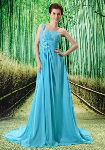 One Shoulder Appliques Aqua Blue Graduation Dresses For Grade 8