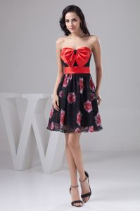 Printed Strapless Eighth Grade Graduation Dresses with Big Bowknot