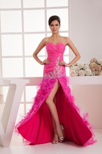 Sweetheart Hot Pink Appliques Graduation Dress with High Slit