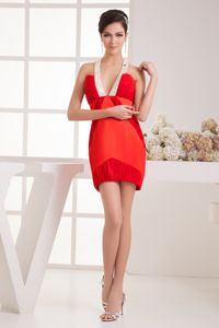 Red Mini-length Cute Graduation Dresses with Beading Straps