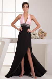 Brush Train Halter Top Pink and Black Grad Dress with High Slit