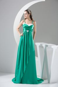 Spaghetti Straps Sweep Train Green College Graduation Dress