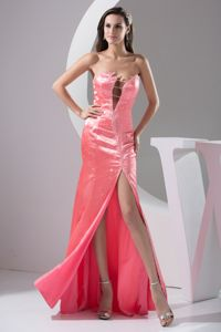 Sexy Beading High Slit Evening Dress For Graduation in Coral Red