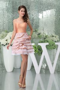 Spaghetti Straps Ruffled Layers Peach Colored Graduation Dress