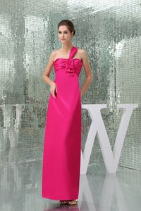Ankle-length One Shoulder Hot Pink Graduation Dresses for Grade 8