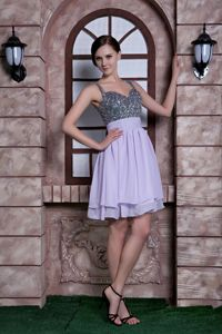 Lilac A-line Spaghetti Straps Knee-length Beading Grad Dress in Cabril