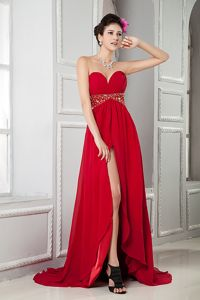 Empire Sweetheart Red Slit Grad Dress Beading Belt Brush Train