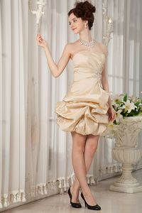 Strapless 5th Grade Graduation Dresses in Champagne Mini-length