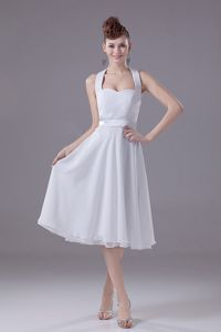 Halter Tea-Length Empire Backless White Anniversary Party Dress in Carrbridge