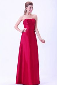 Strapless Sheath Floor-Length Ruched Wine Red School Party Dress in Carrbridge