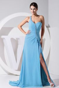 One-Shoulder Sweep-Floor School Party Dress with Slit on the Side in Baltasound