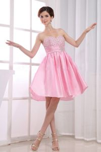 Baby Pink Sweetheart Knee-length School Theme Party Dress with Beading