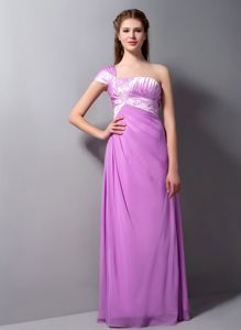 Special Single Shoulder Short Sleeve Lavender Long Party Dresses in Katy